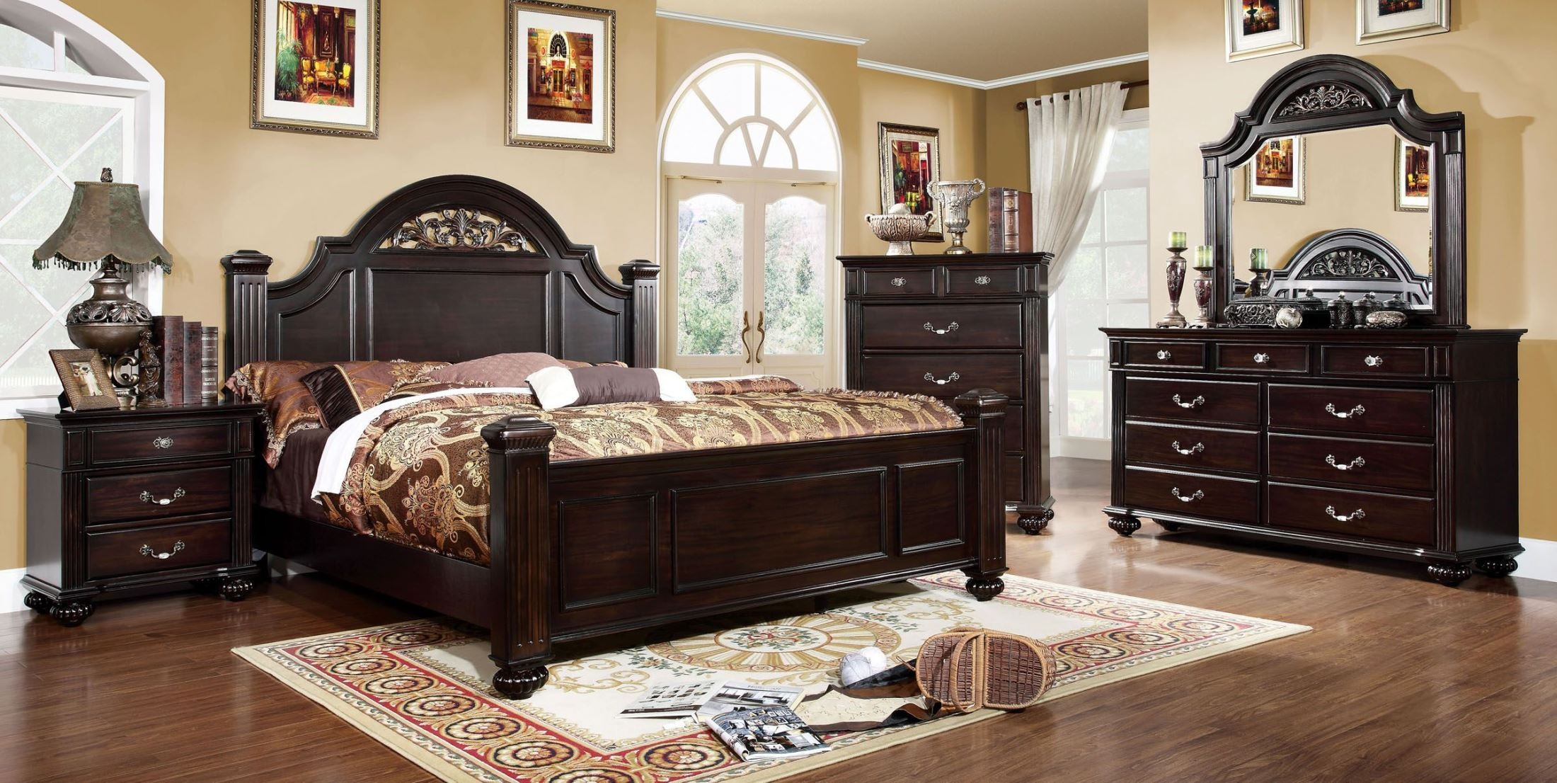 Syracuse Dark Walnut Poster Bedroom Set From Furniture Of