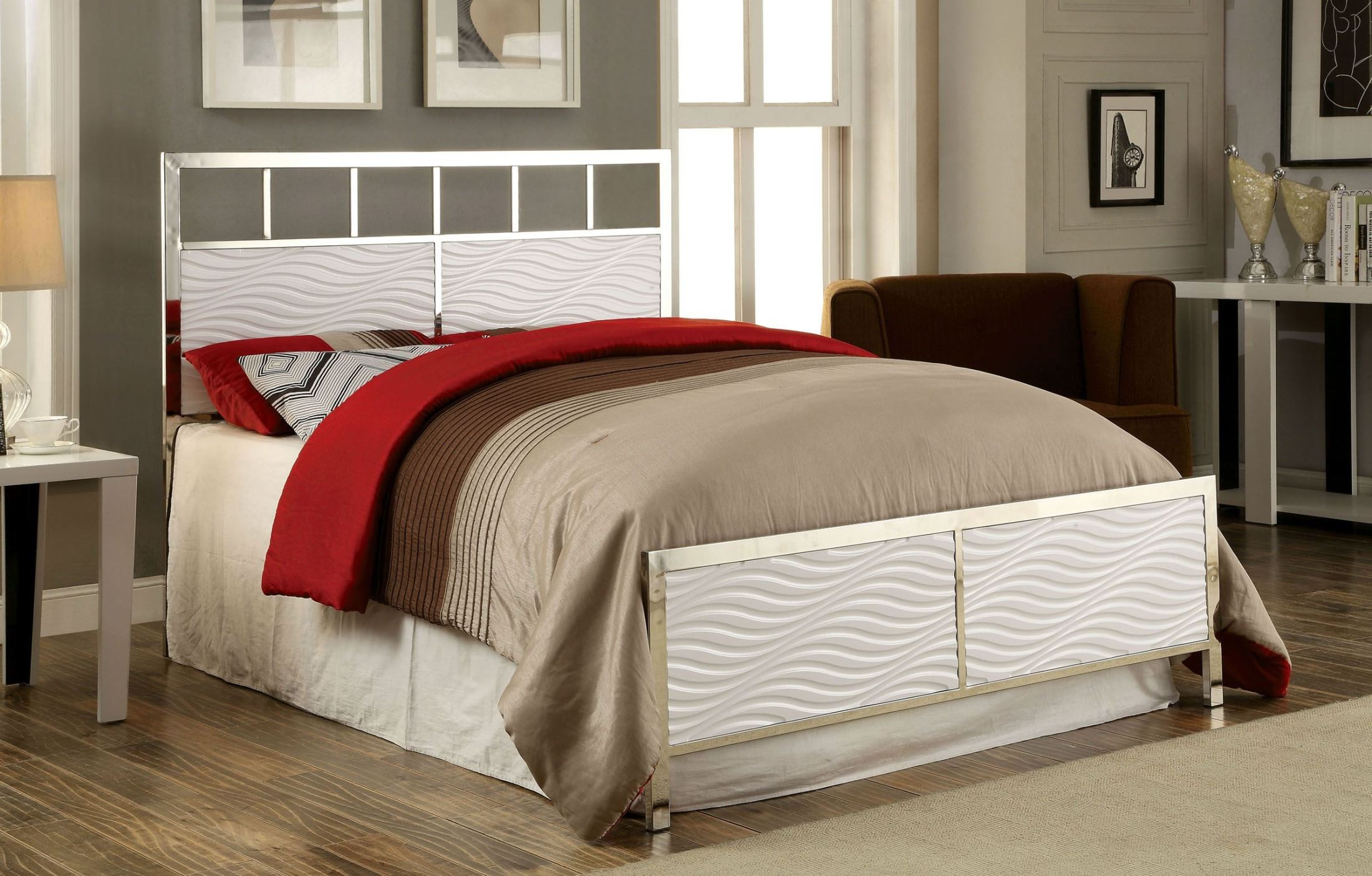 Calvin white king headboard and footboard from furniture for Divan footboard