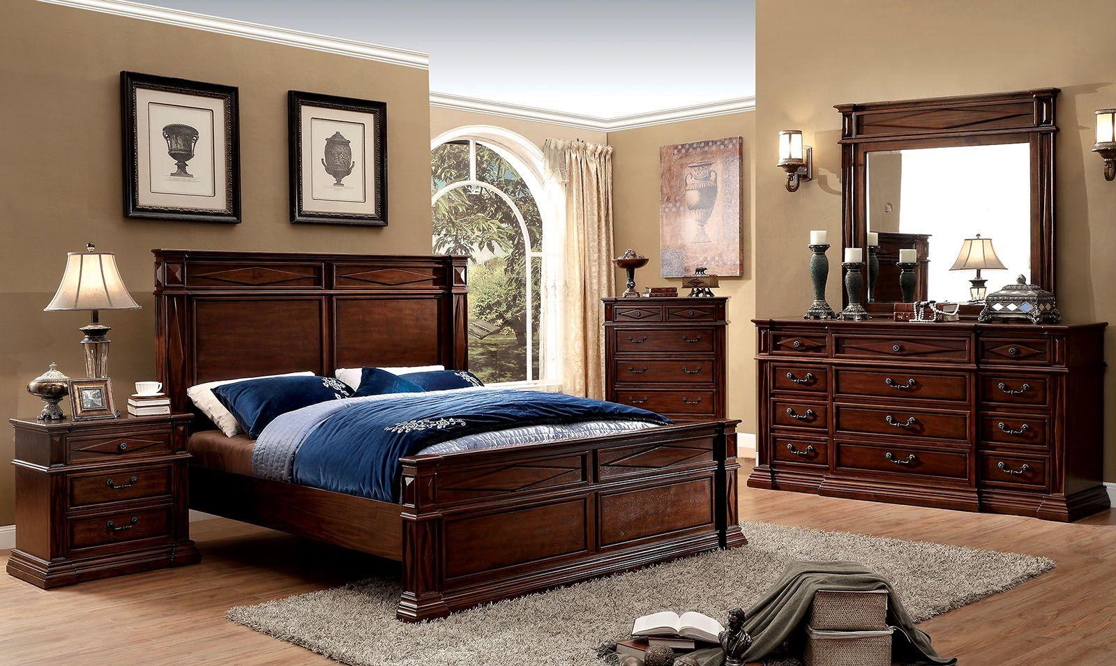 Gayle Cherry Panel Bedroom Set, CM7138Q, Furniture Of America
