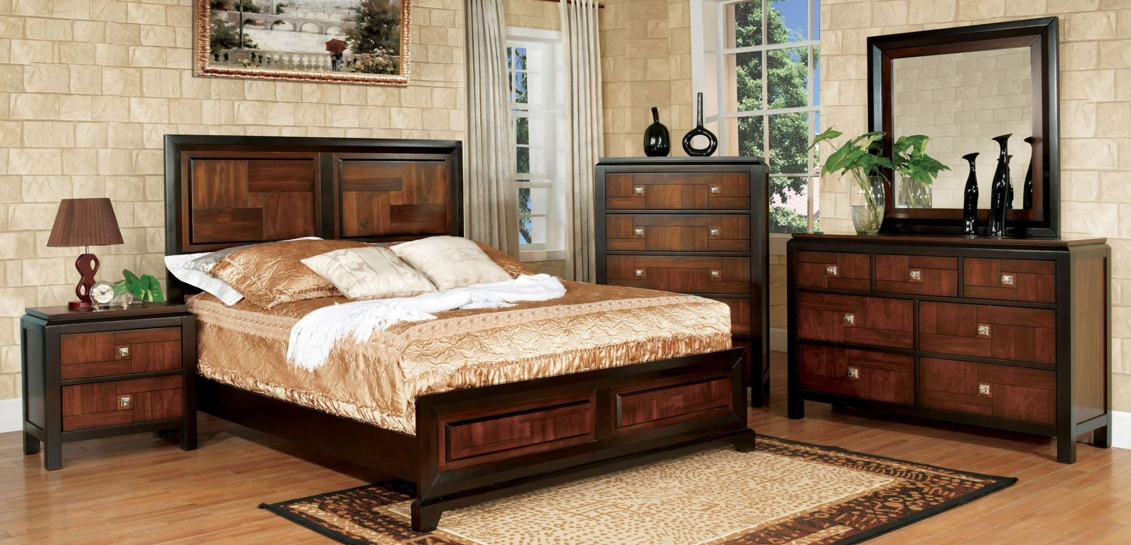 Patra acacia and walnut youth panel bedroom set from for Walnut bedroom furniture