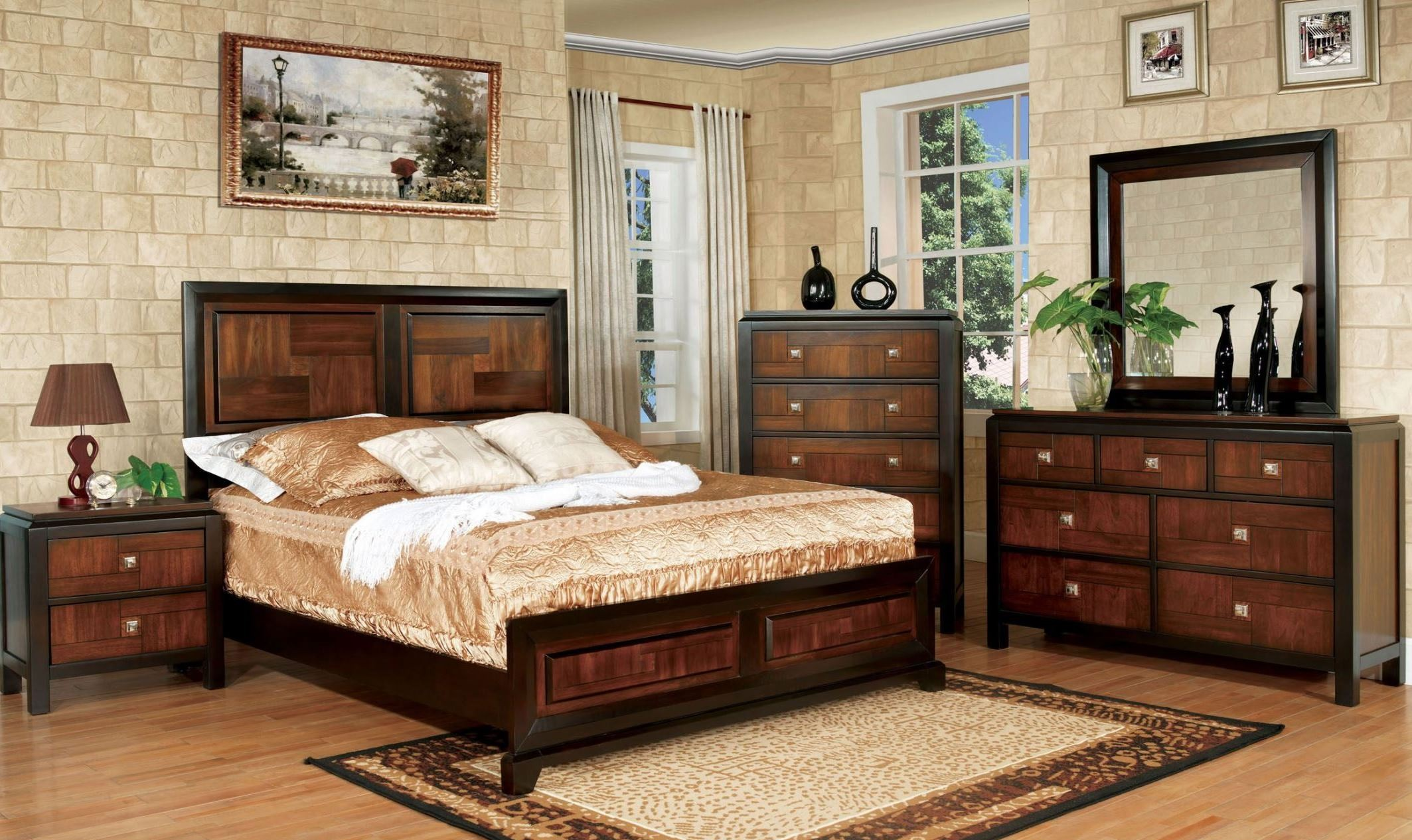 patra acacia and walnut panel bedroom set from furniture 13786 | cm7152 3