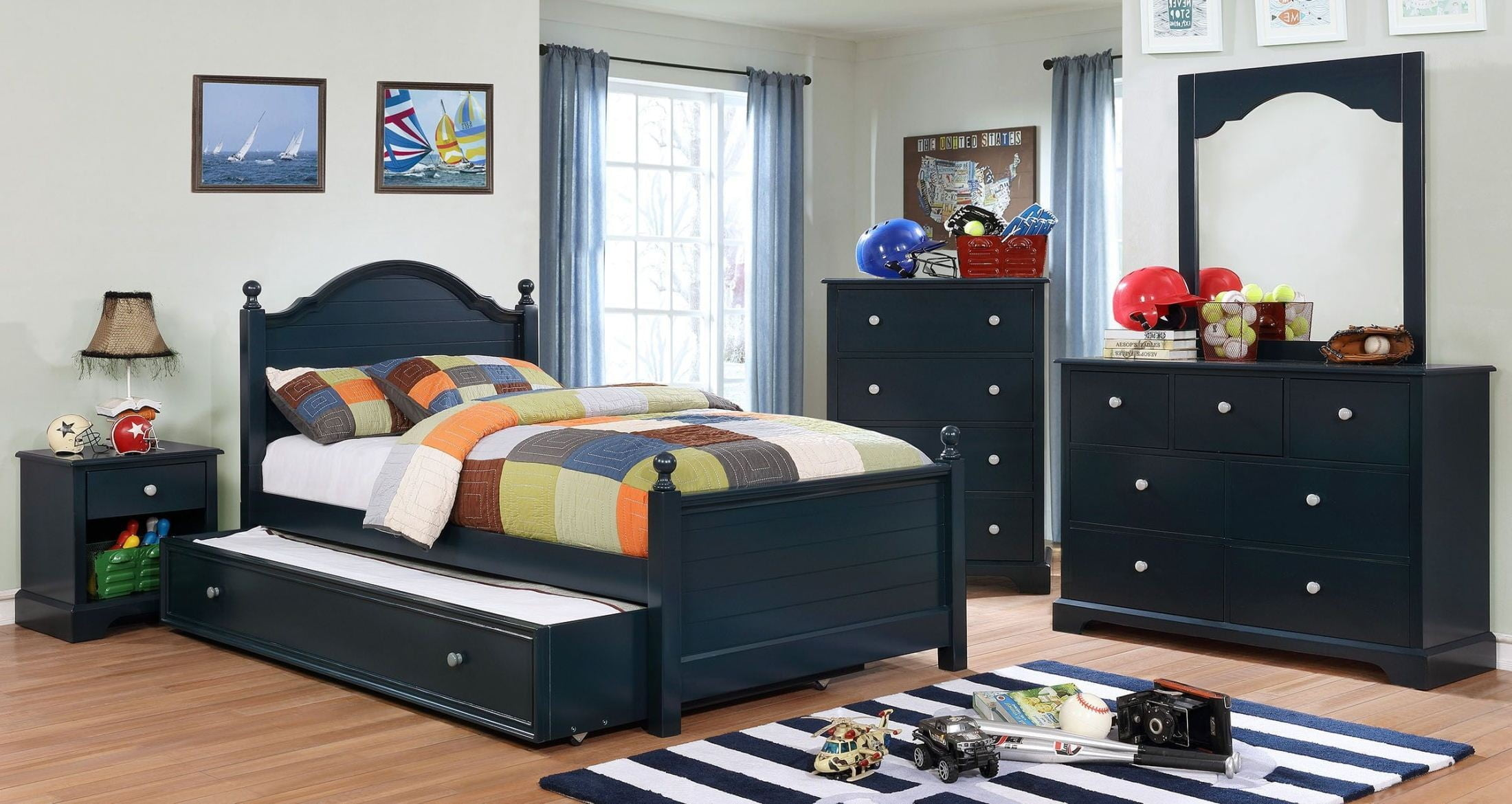 Diane blue youth storage platform bedroom set from furniture of america coleman furniture for Youth storage bedroom furniture