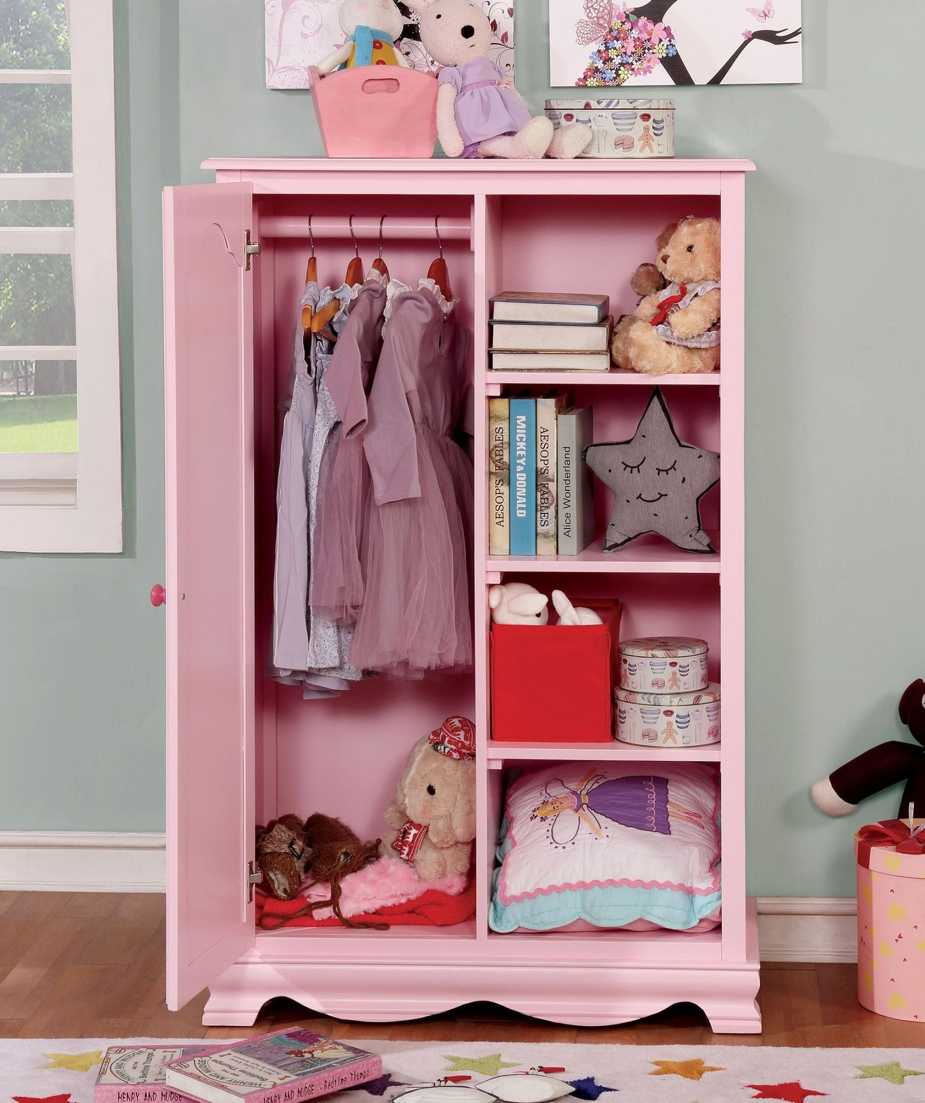Dani Pink Closet Storage Cabinet From Furniture Of America  # Muebles Luan Arbo