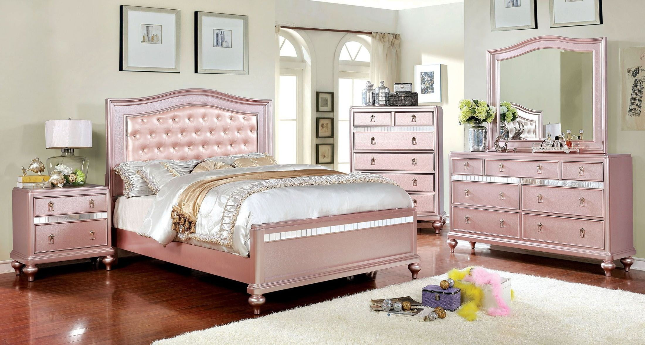ariston rose gold youth upholstered panel bedroom set from furniture of america coleman furniture
