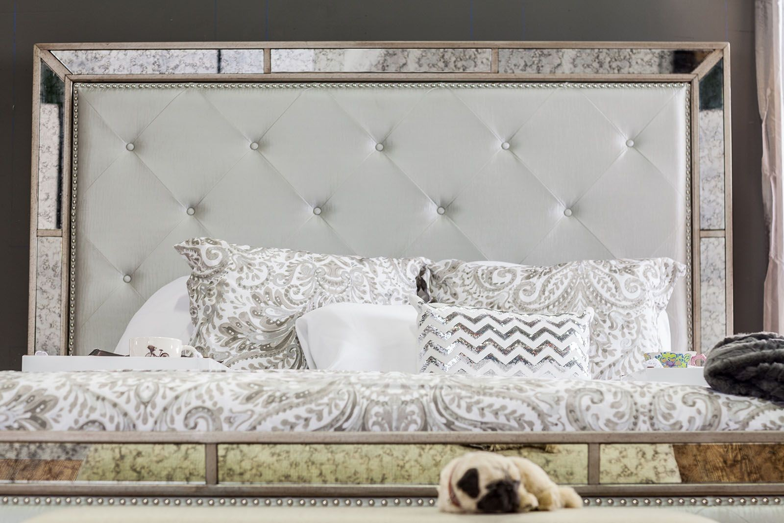 Loraine Silver Upholstered Panel Bedroom Set From