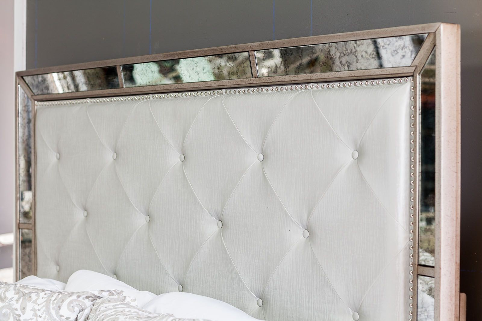 Loraine Silver King Upholstered Panel Bed from Furniture of America ...