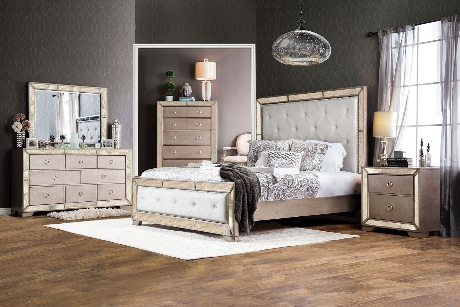 Loraine silver upholstered panel bedroom set from for American furniture bedroom furniture