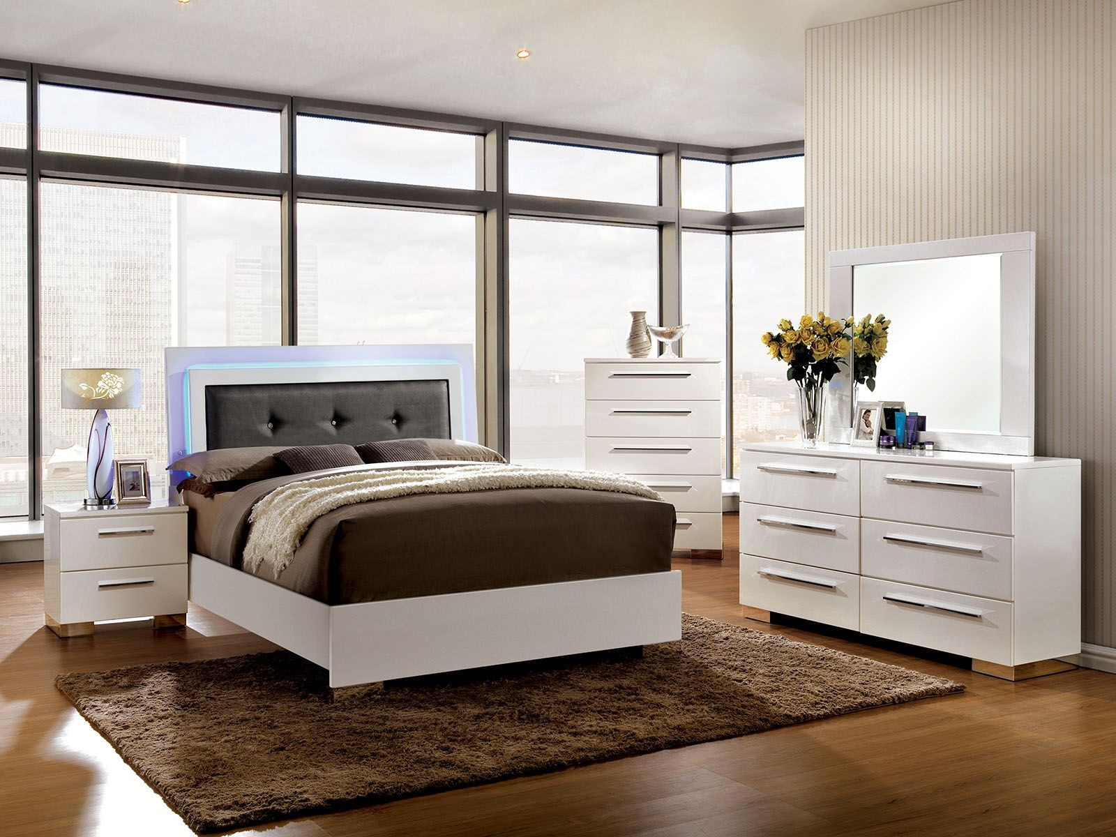clementine smooth white upholstered bedroom set from furniture of america | coleman furniture