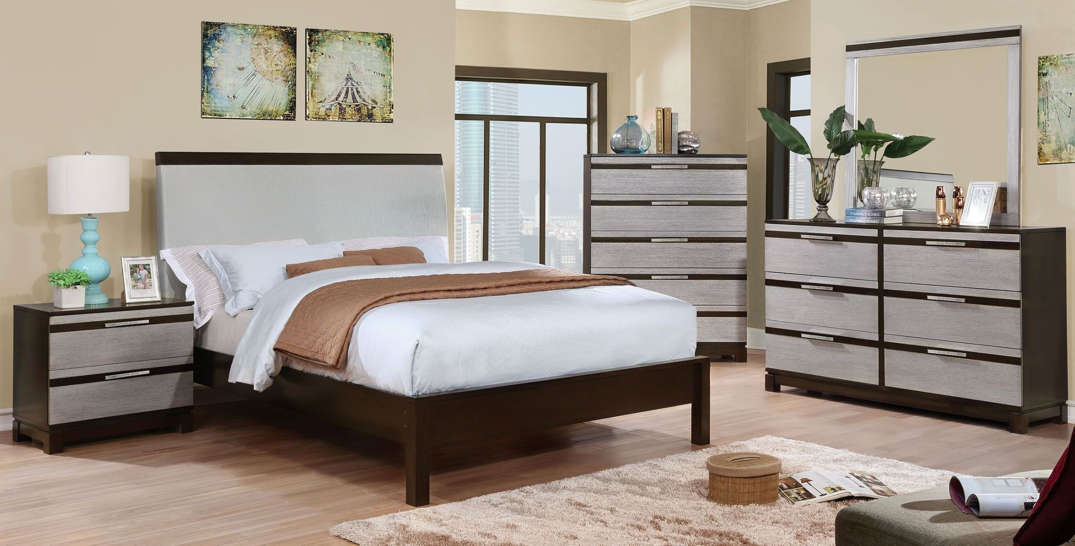 Euclid Silver And Espresso Upholstered Platform Bedroom