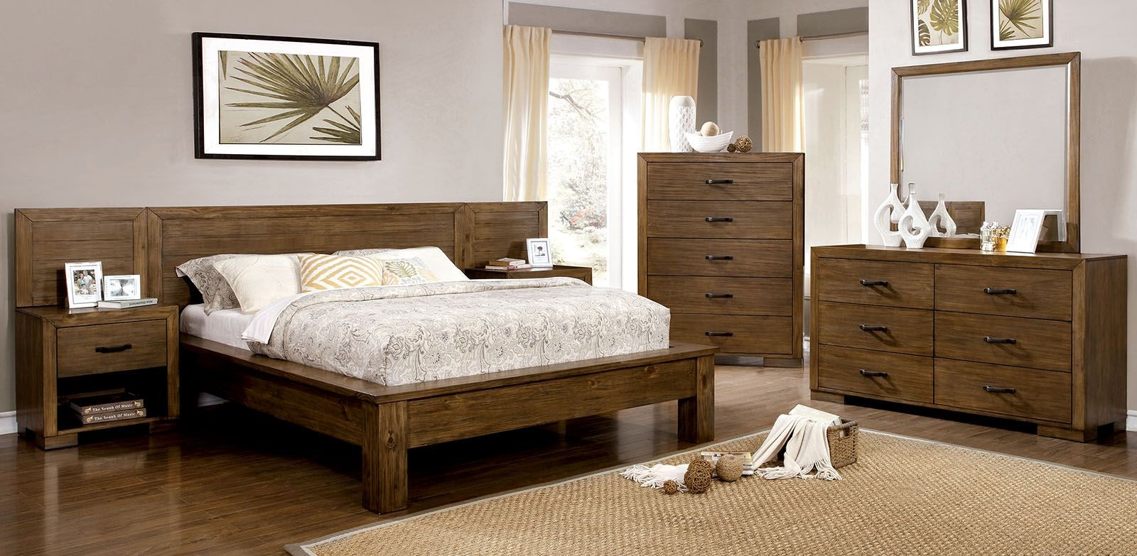 Bairro reclaimed pine wood bedroom set from furniture of for Pine bedroom furniture