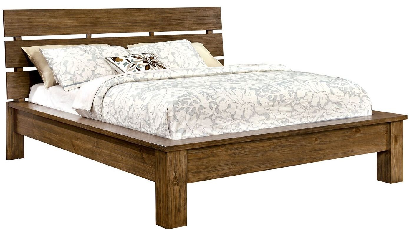 Roraima reclaimed pine wood king bed cm7251ek furniture for Recycled timber beds