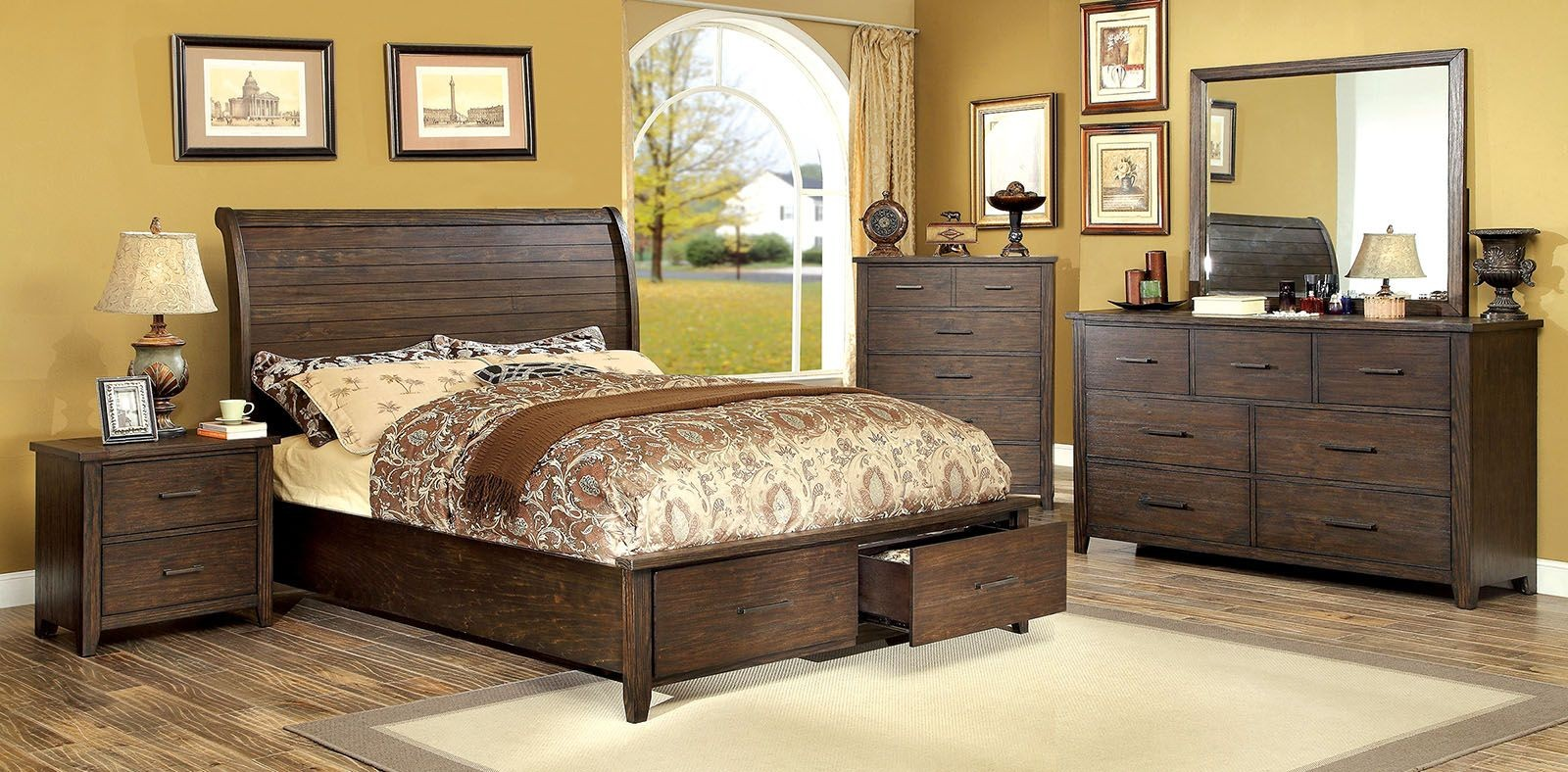 Ribeira dark walnut storage bedroom set from furniture of for Furniture of america furniture
