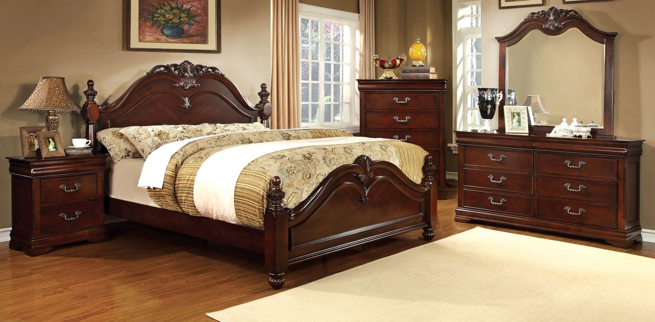 Mandura Cherry Cal King Poster Bed From Furniture Of