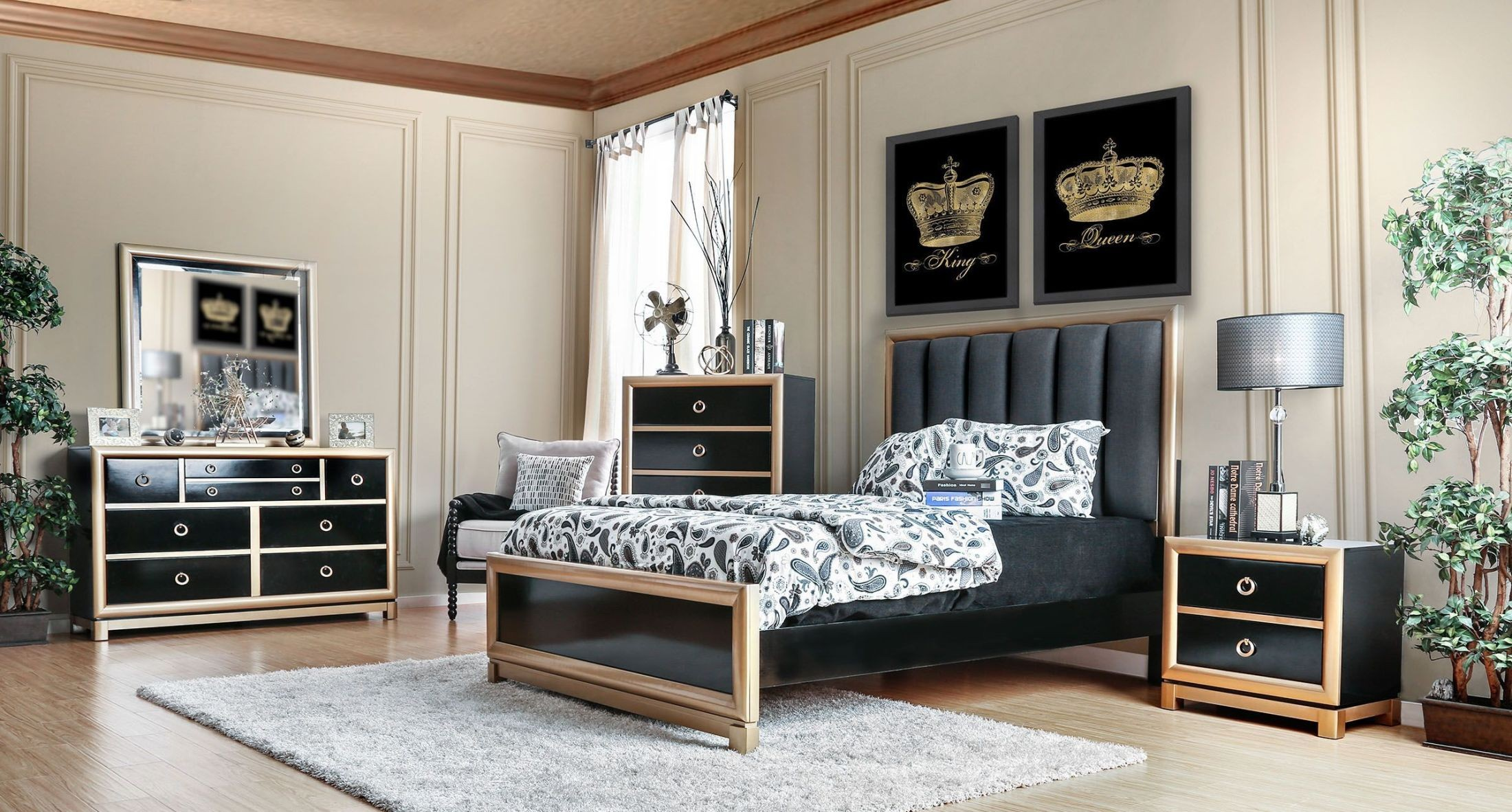 Braunfels Black And Gold Upholstered Panel Bedroom Set From Furniture Of America Coleman Furniture