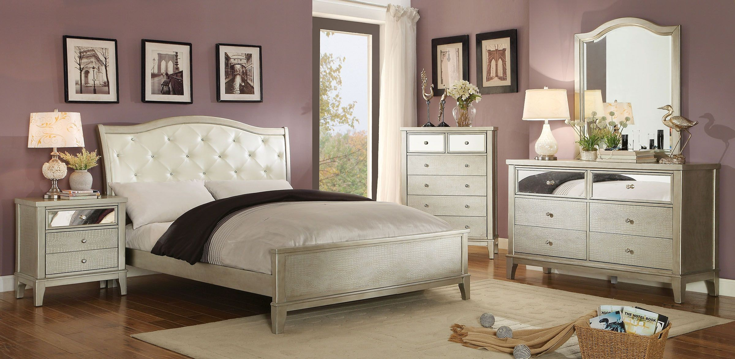 Adeline silver youth upholstered bedroom set from for Youth bedroom furniture