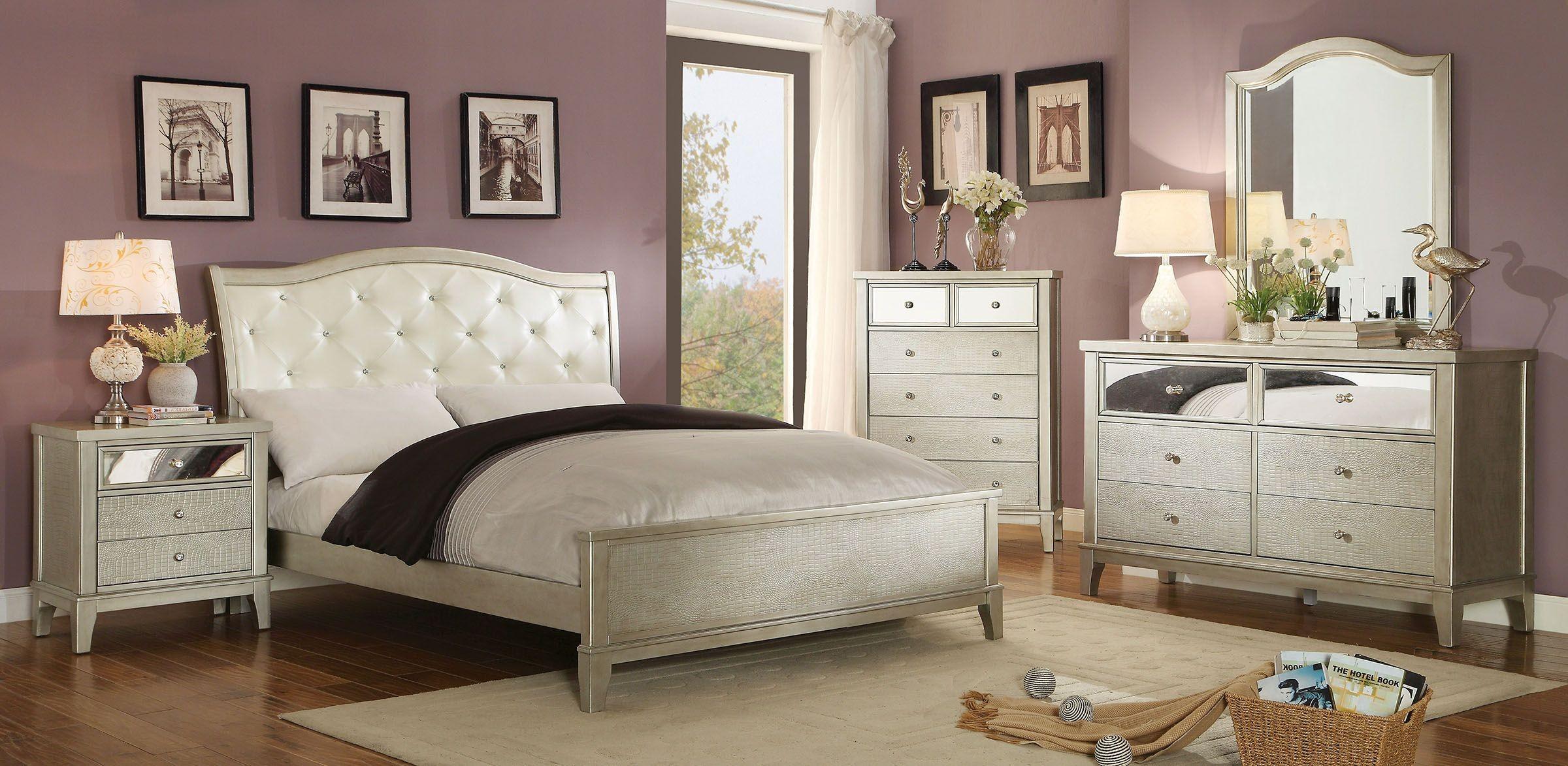 Adeline silver upholstered bedroom set from furniture of america coleman furniture - America bedroom furniture ...