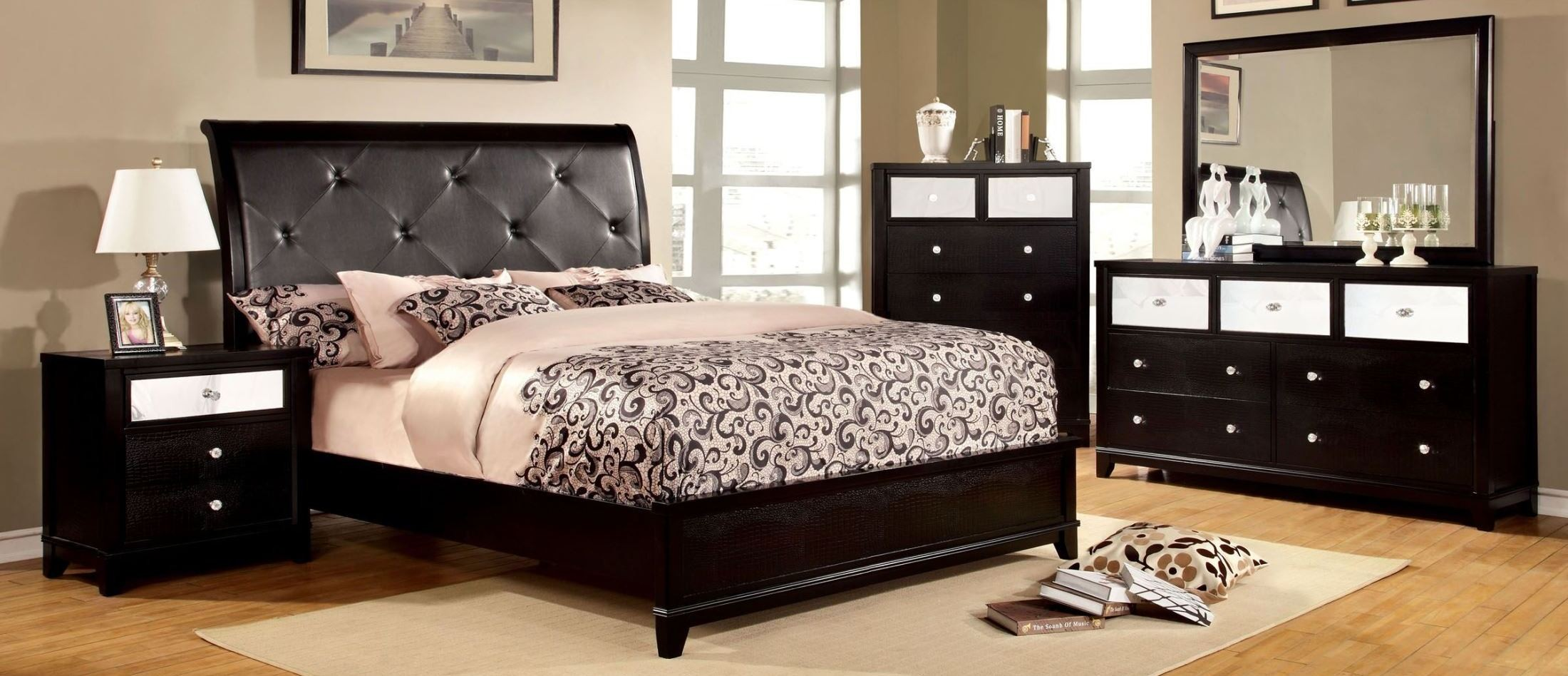 Bryant black crocodile leatherette bedroom set from furniture of america cm7288q bed coleman - Black bedroom furniture ...