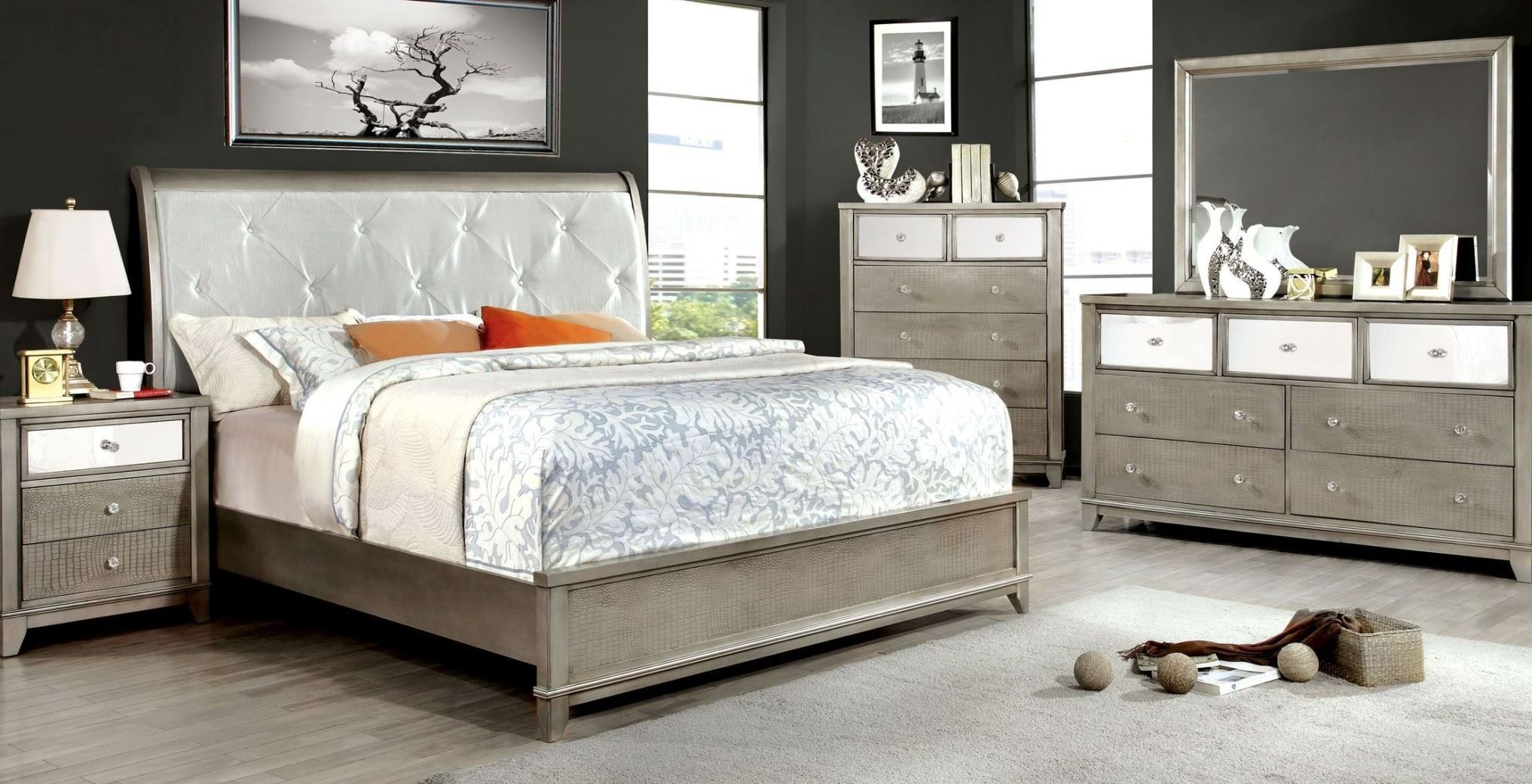 Bryant silver crocodile leatherette bedroom set from for Silver bedroom furniture