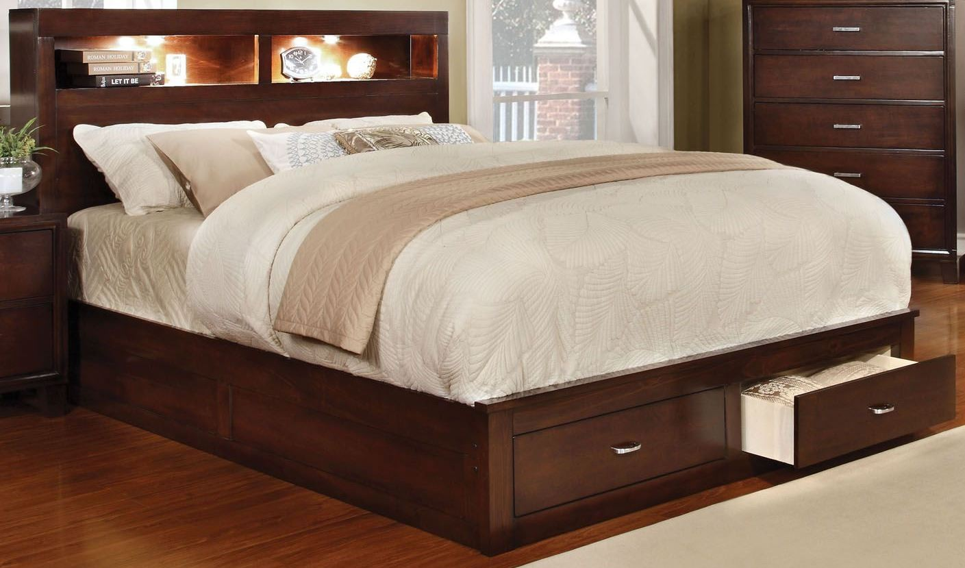 Gerico ii brown cherry queen storage platform bed from for Furniture of america mattress