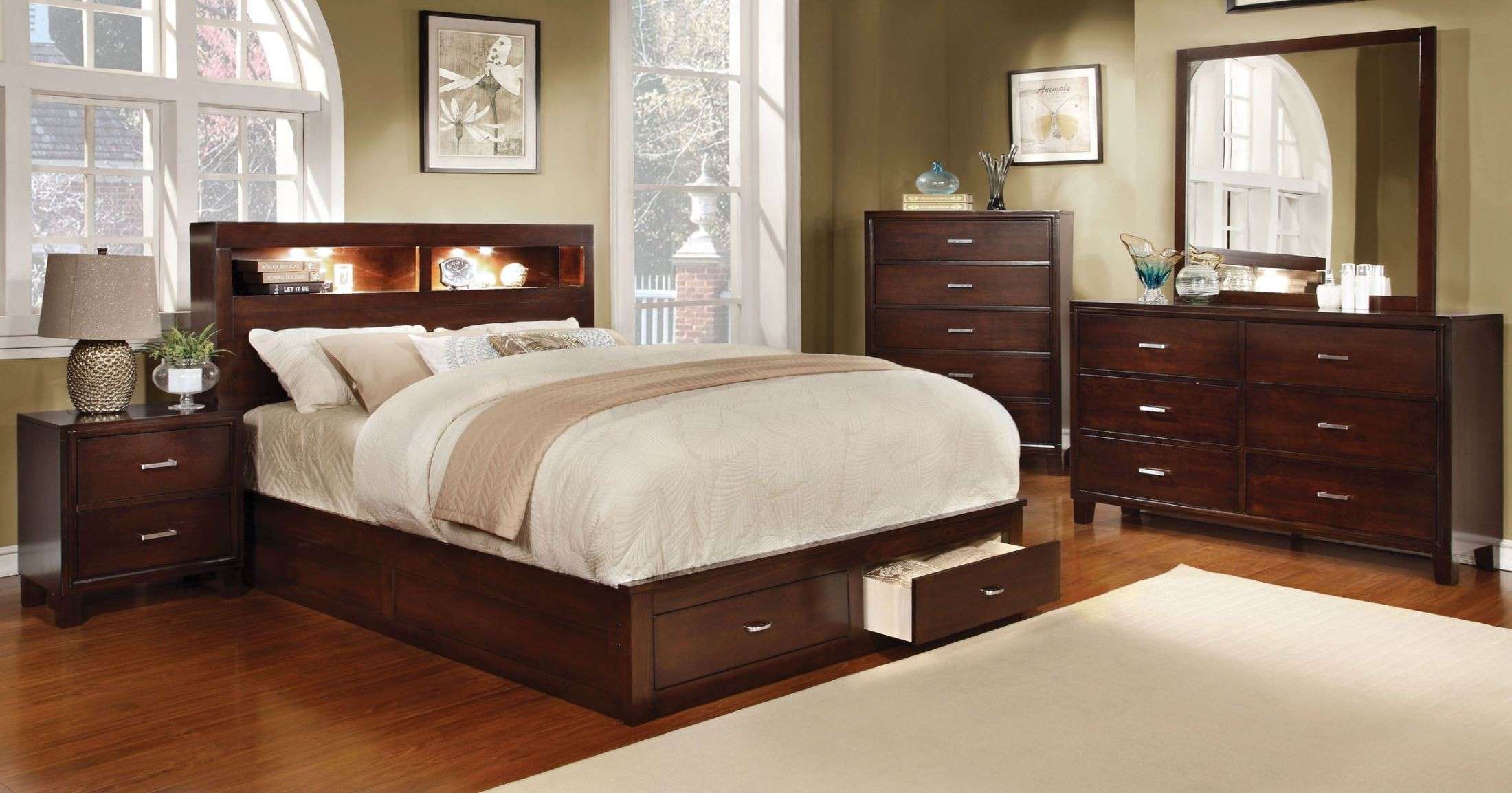 Gerico Ii Brown Cherry Storage Platform Bedroom Set From Furniture Of America Cm7291ch Q Bed