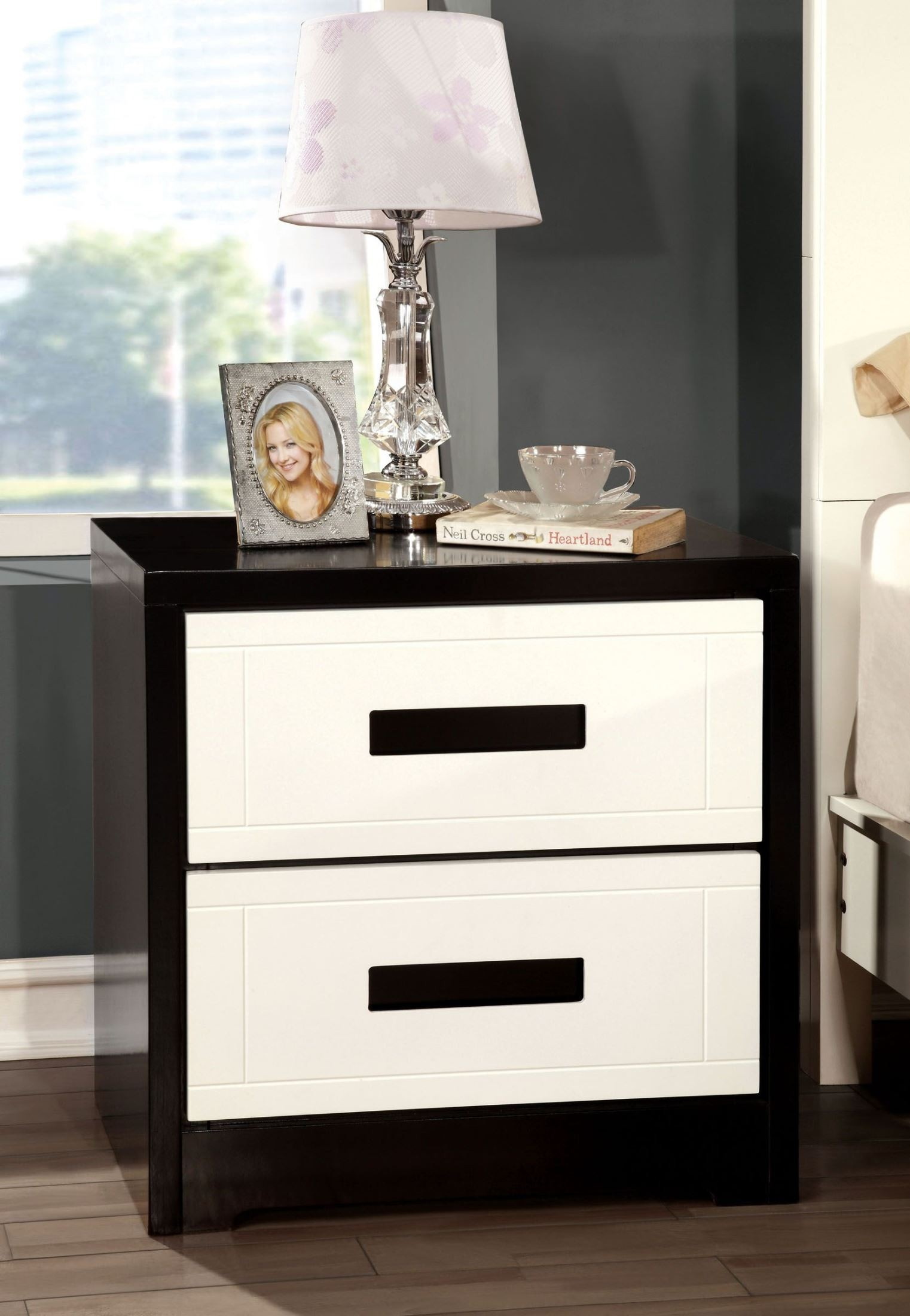 Rutger White And Black Night Stand From Furniture Of