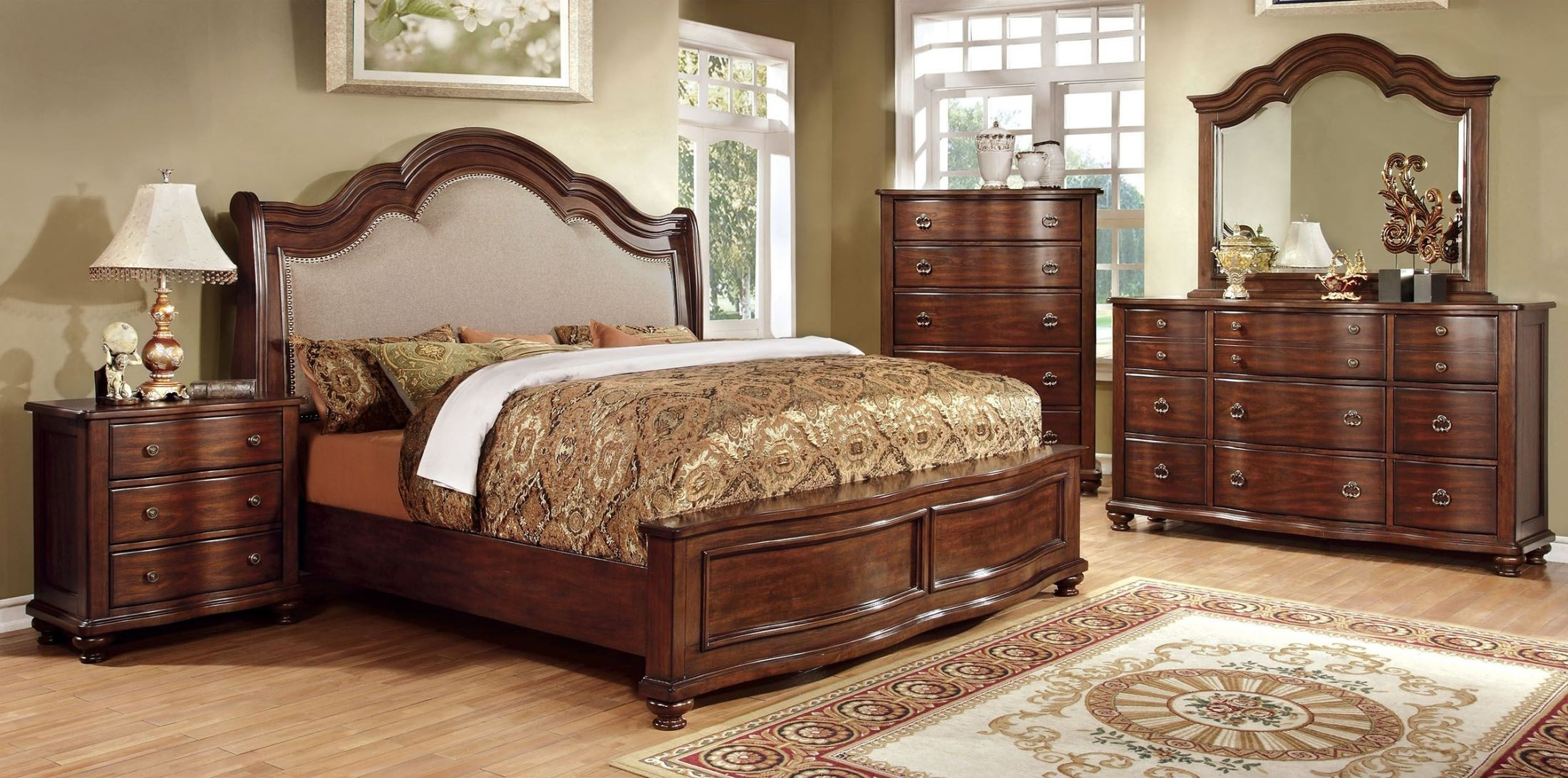Bellavista Brown Cherry Bedroom Set From Furniture Of America (CM7350Q BED)  | Coleman Furniture