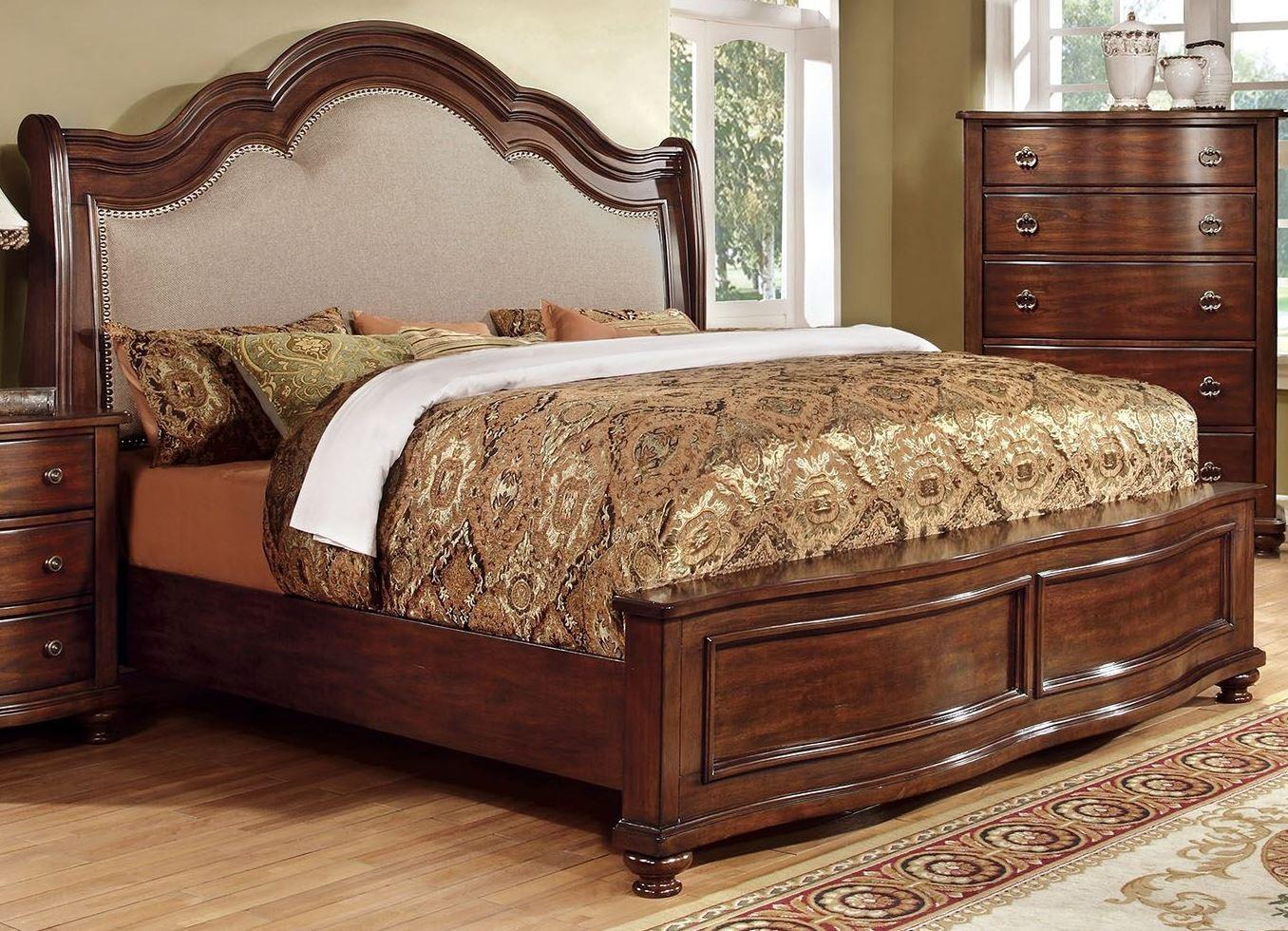 Bellavista Brown Cherry King Bed From Furniture Of America Cm7350ek Bed Coleman Furniture