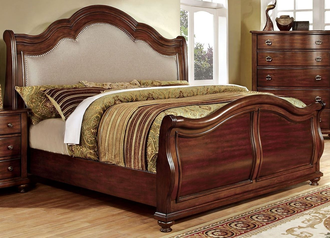 bellavista brown cherry king sleigh bed from furniture of america cm7350h ek bed coleman. Black Bedroom Furniture Sets. Home Design Ideas