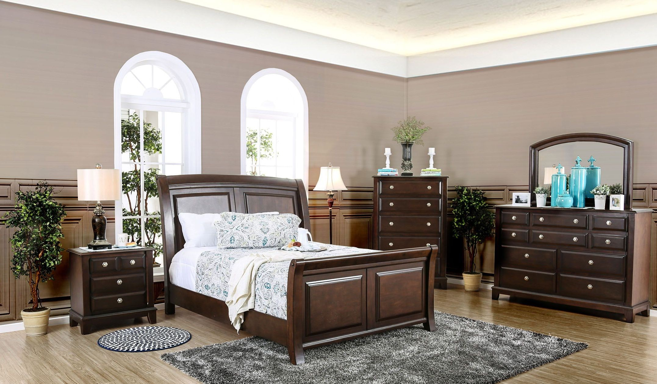 Litchville Brown Cherry Sleigh Bedroom Set From Furniture Of America Coleman Furniture