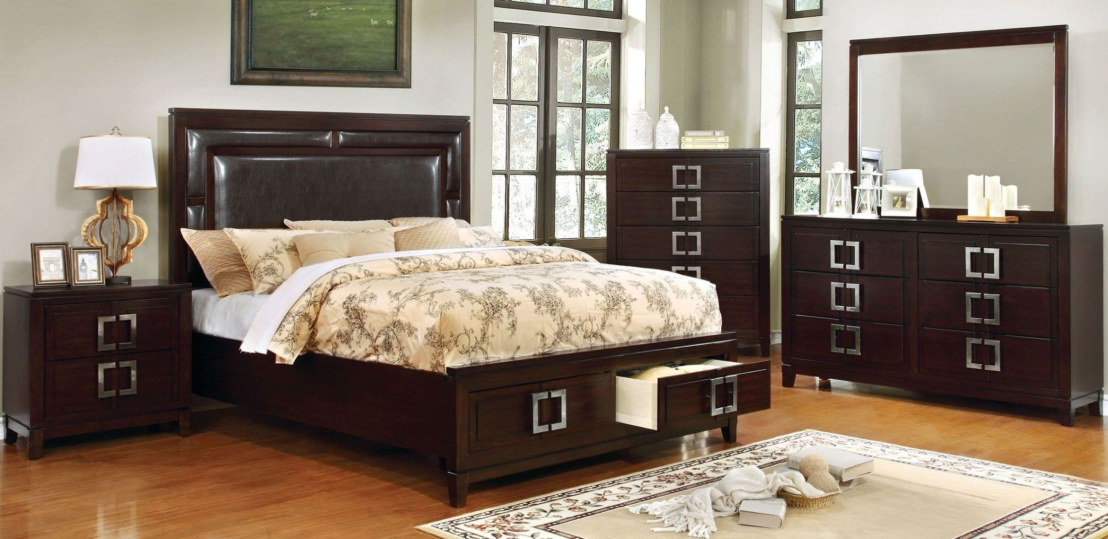 Balfour Brown Cherry Panel Storage Bedroom Set CM7385Q Furniture of America