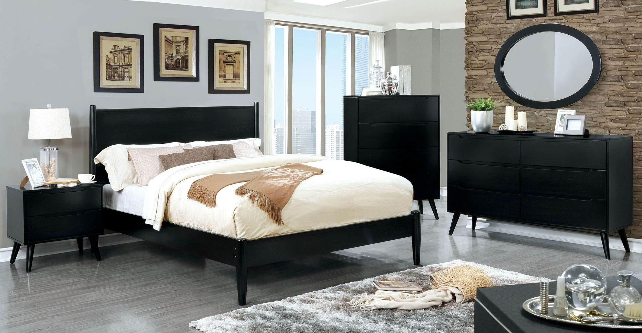 Contemporary Bedroom Set London Black By Acme Furniture: Lennart II Black Panel Bedroom Set From Furniture Of