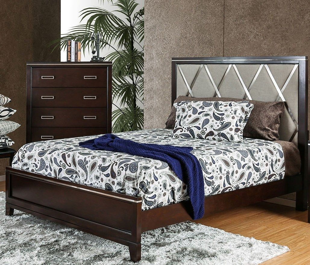 winnifred cherry king upholstered panel bed from furniture of america coleman furniture. Black Bedroom Furniture Sets. Home Design Ideas