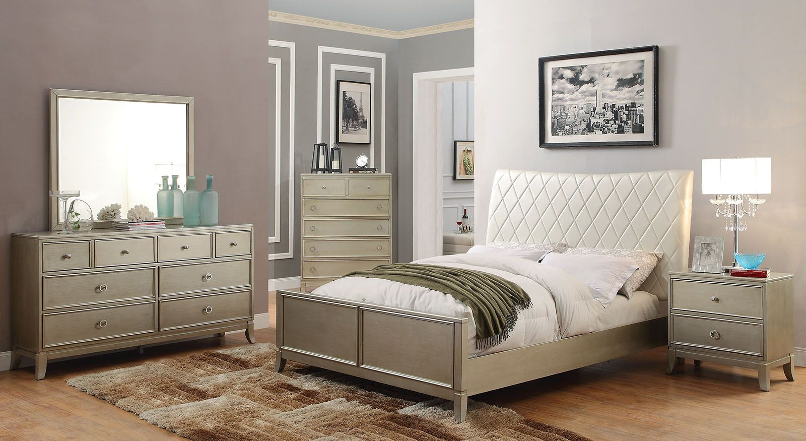 silver bedroom sets enid silver upholstered panel bedroom set cm7430q 13152