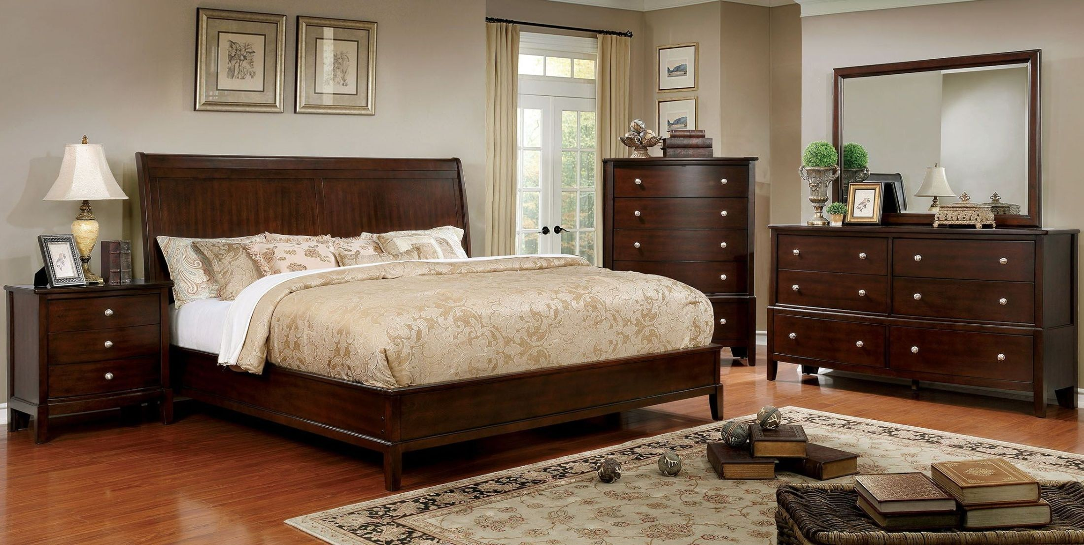 platform bedroom set ferrero brown cherry platform bedroom set from furniture 12918