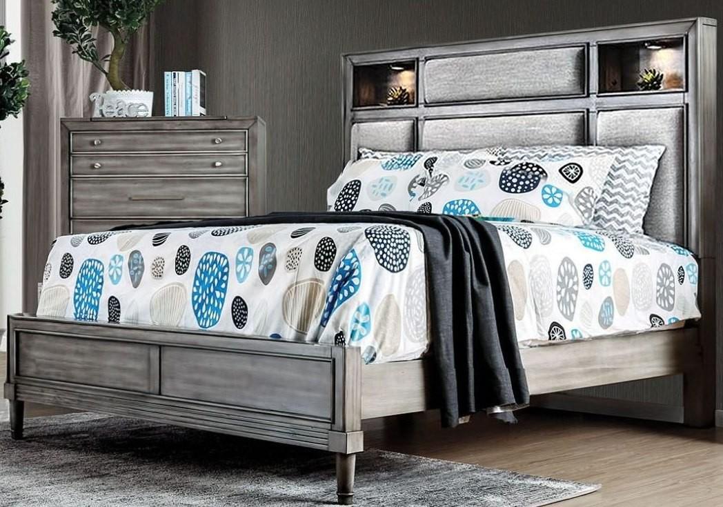 Daphne Gray Upholstered Platform Bedroom Set From