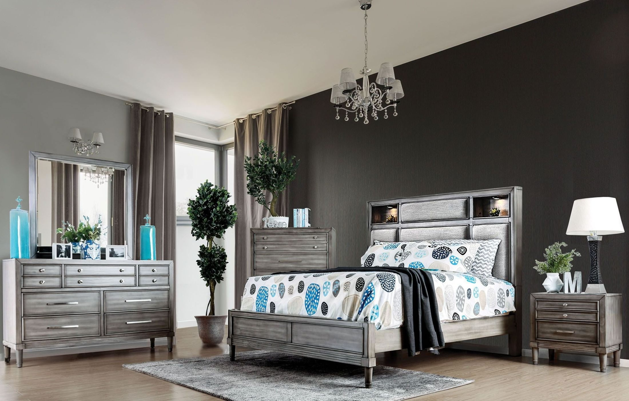 daphne gray upholstered platform bedroom set from furniture of america coleman furniture. Black Bedroom Furniture Sets. Home Design Ideas