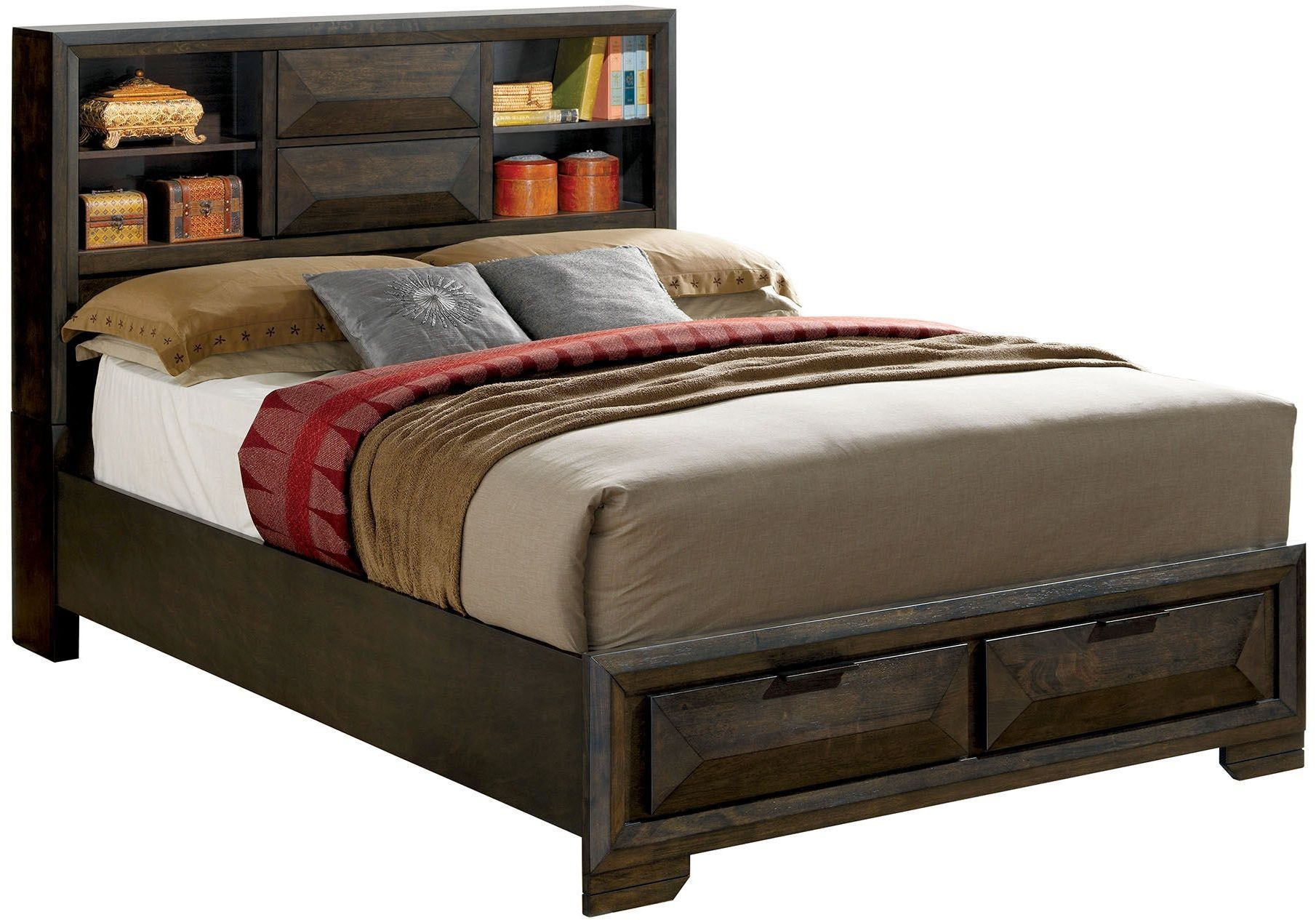 Nikomedes espresso cal king platform storage bed from for Furniture of america customer service