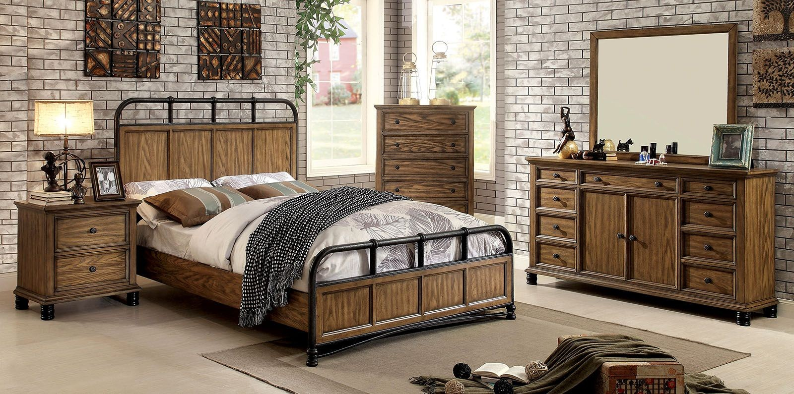 oak bedroom sets mcville oak panel bedroom set cm7558q furniture of 12724