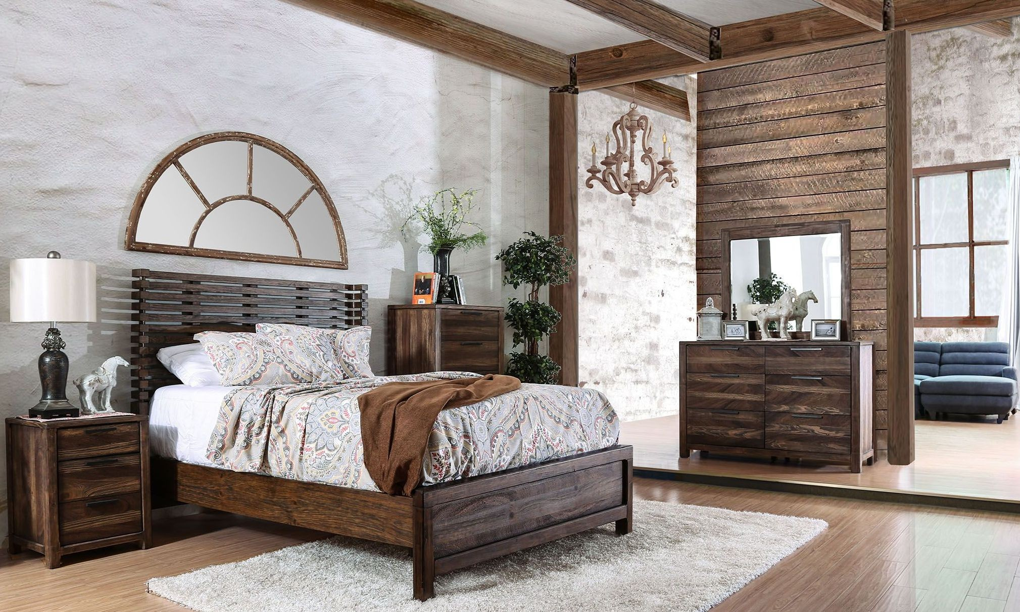 Hankinson rustic natural tone panel bedroom set from