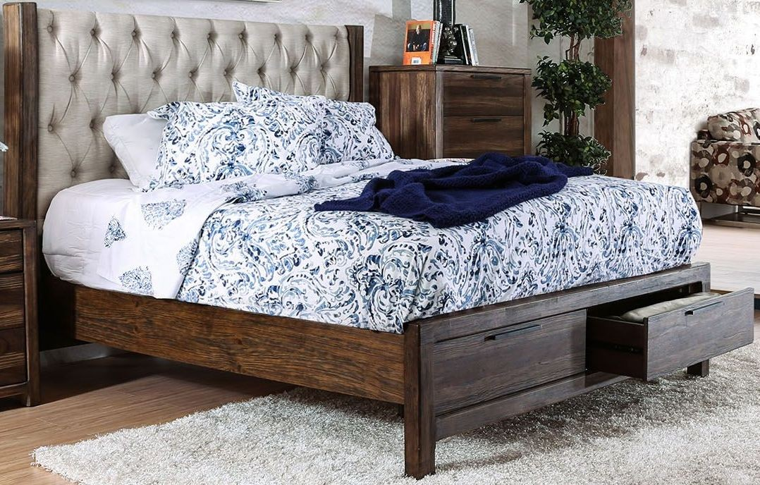 Hutchinson rustic natural tone king bed upholstered panel for Furniture of america king bed