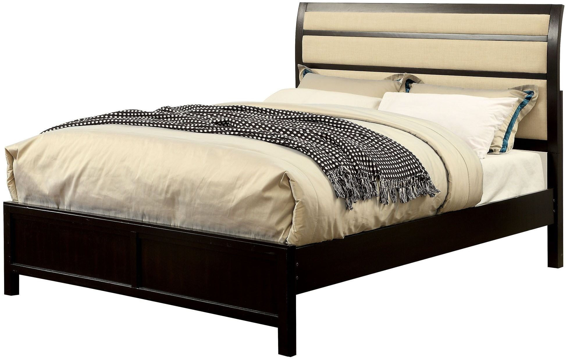 berenice espresso cal king upholstered panel bed from furniture of america coleman furniture. Black Bedroom Furniture Sets. Home Design Ideas