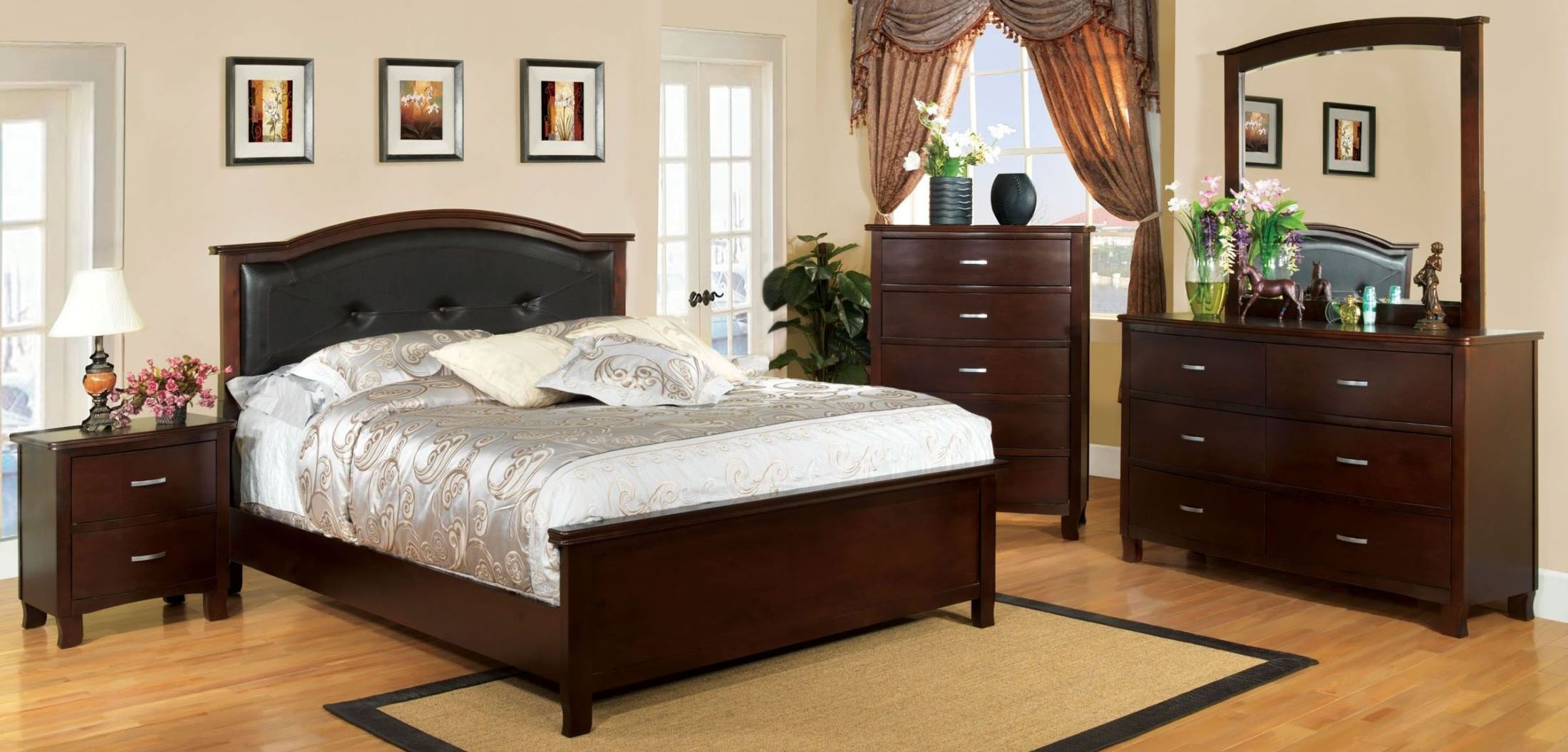 Crest view brown cherry panel bedroom set from furniture for Brown bedroom furniture