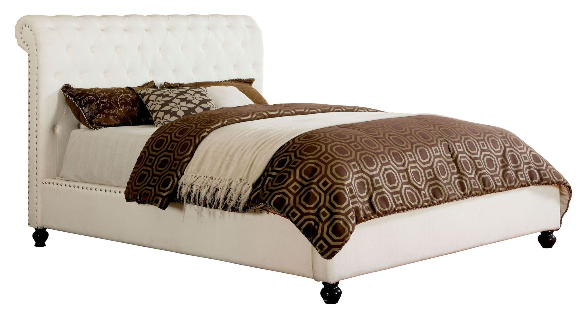 Bennett white queen platform bed from furniture of america for 1 bed