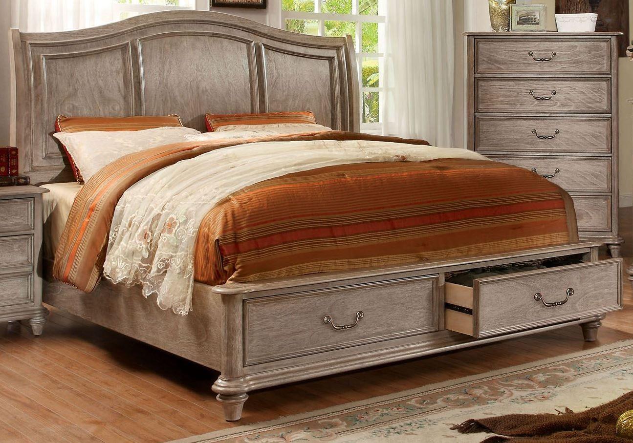 Belgrade I Rustic Natural Tone King Platform Storage Bed From Furniture Of America Cm7613ek Bed