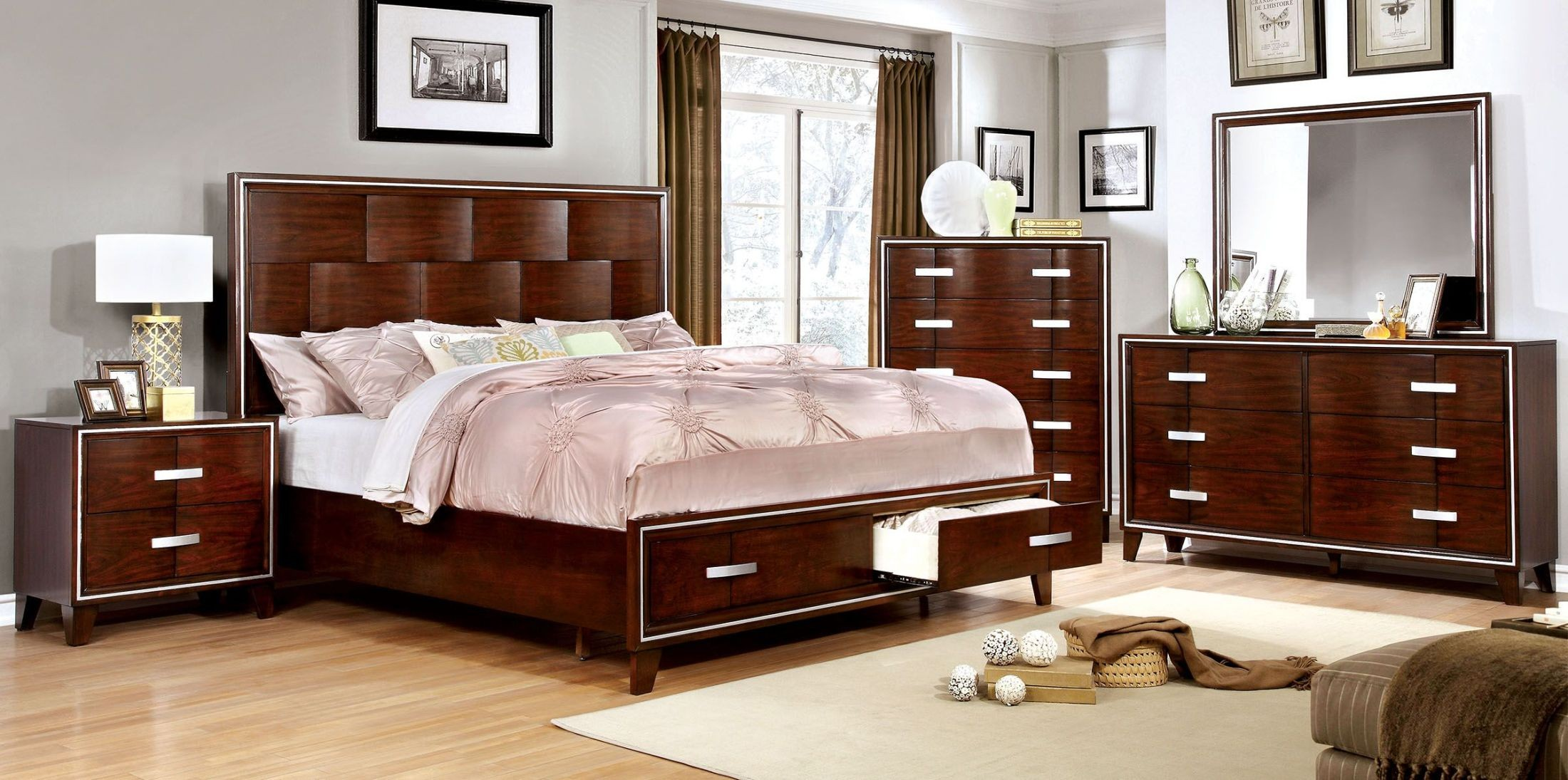 Safire Brown Cherry Platform Storage Bedroom Set From