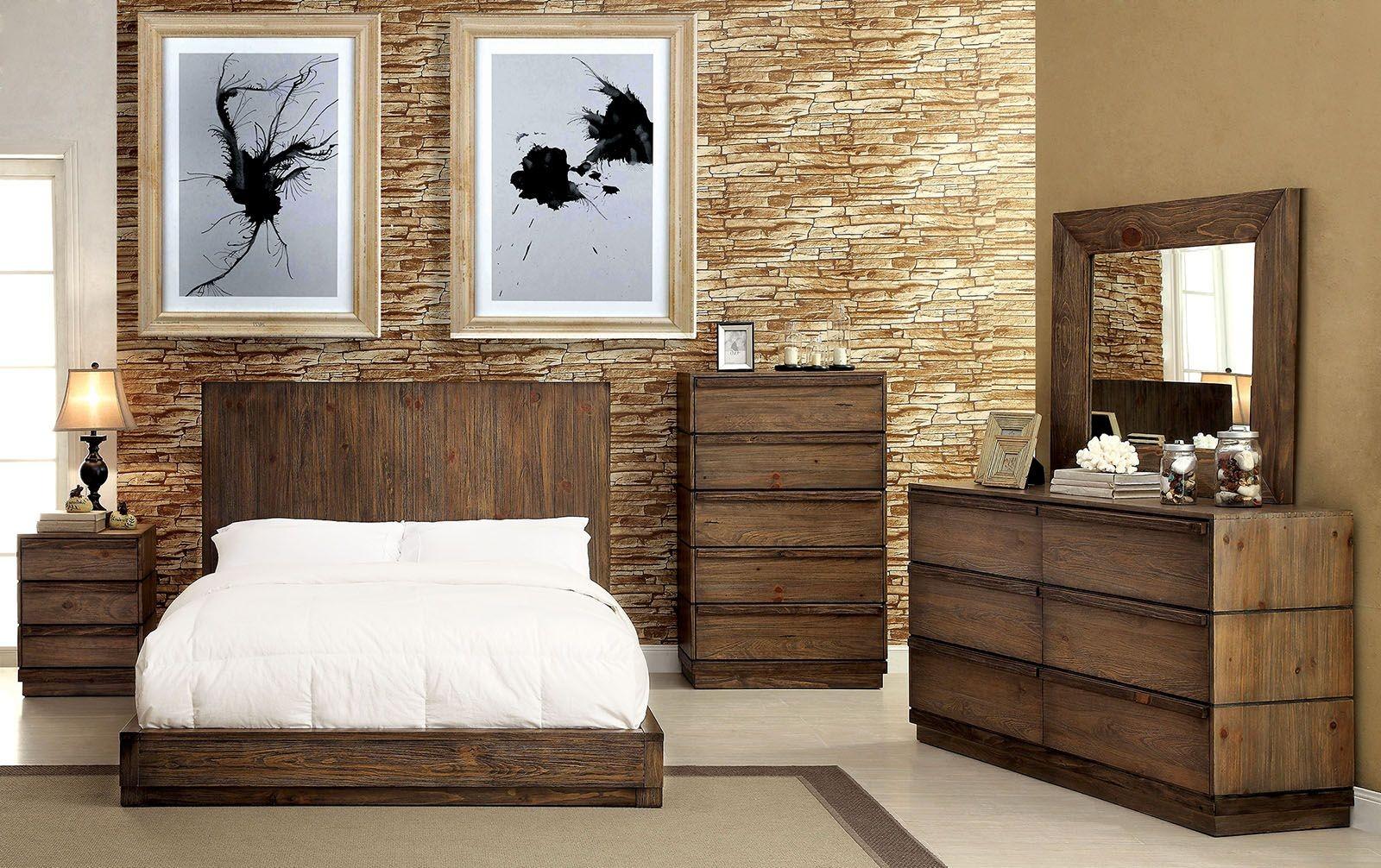 Amarante rustic natural bedroom set from furniture of