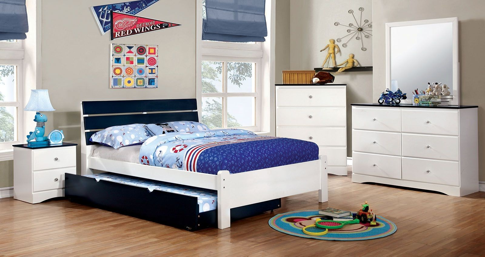 Kimmel youth blue and white platform bedroom set from for Youth bedroom furniture