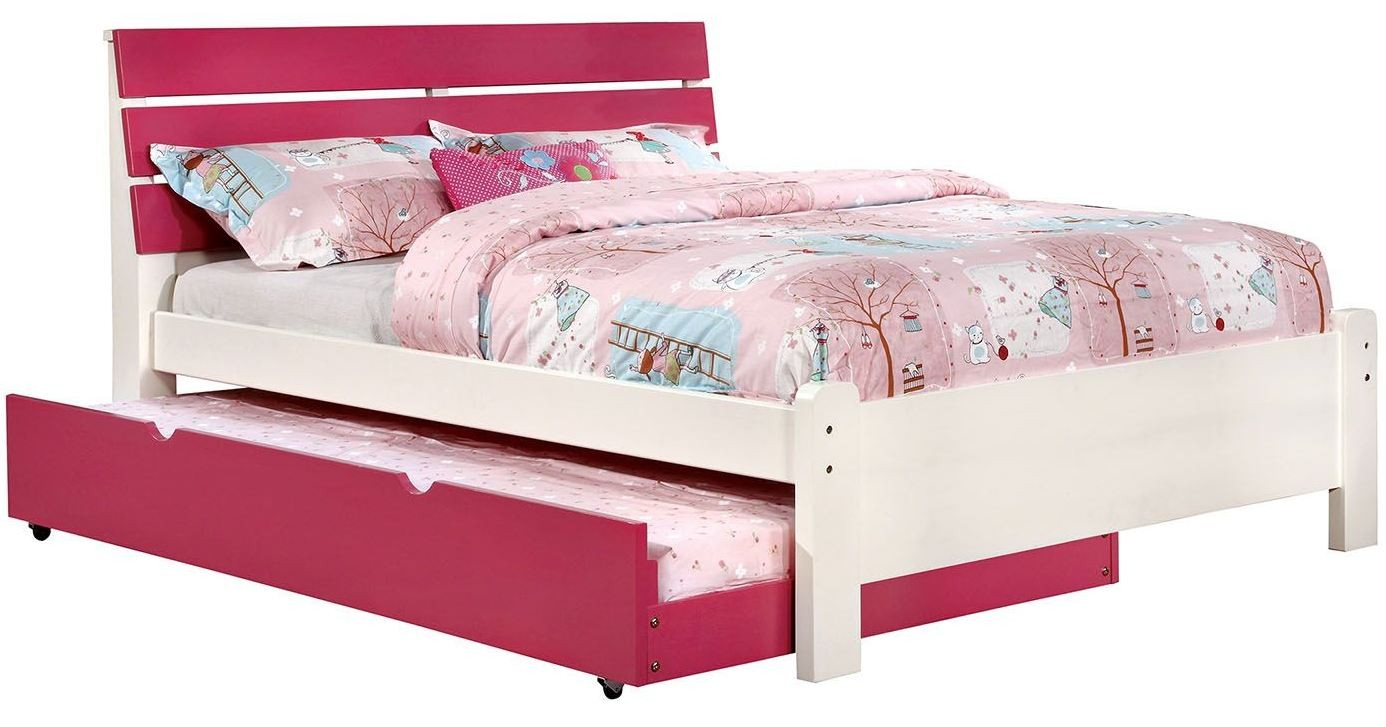 kimmel youth pink and white platform bedroom set cm7626pk 19464 | cm7626pk f wb 1