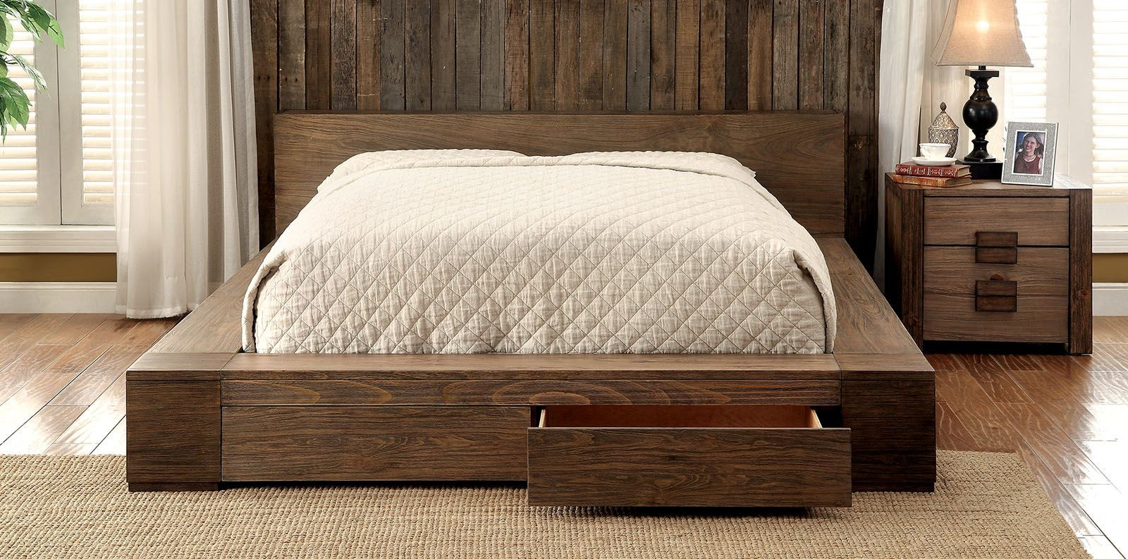 Modern Queen Bedroom Sets Janeiro Rustic Natural King Storage Bed Cm7629ek