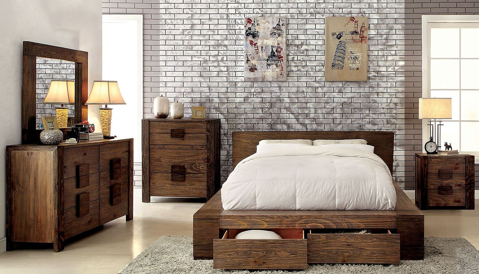Janeiro Rustic Natural Storage Bedroom Set From Furniture Of
